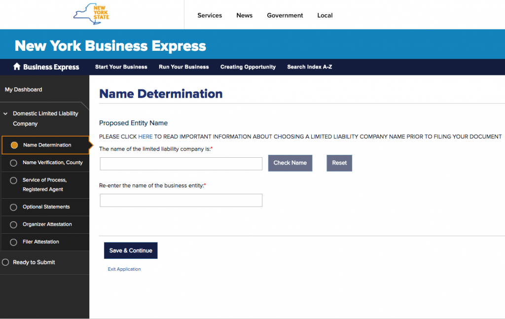 Screen-shot of NY Business Express where you file your LLC in New York