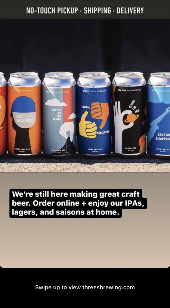 Instagram stories ad from Threes Brewing