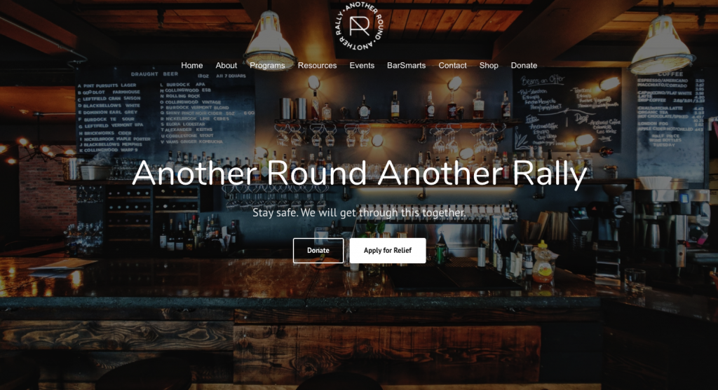 The Another Round Another Rally Homepage where bartenders can make money during the pandemic