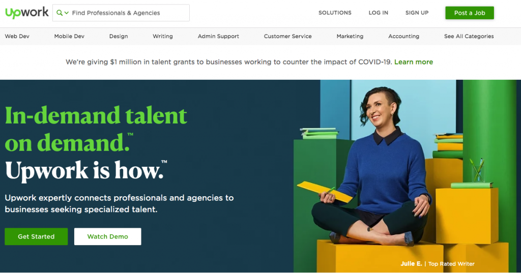 The UpWork homepage, where you'll find freelance work to make money during the pandemic
