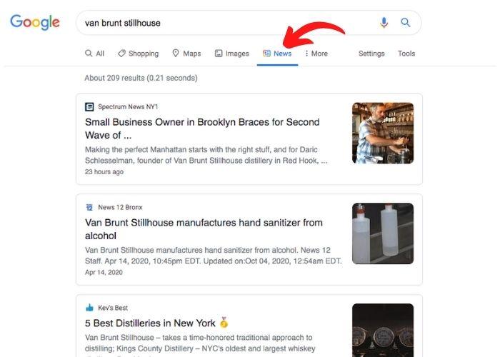 Screen shot of Google News results