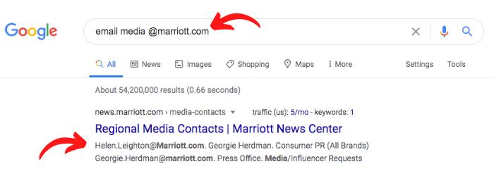Google results for media at marriott.com