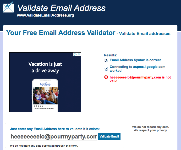an invalid response from ValidateEmailAddress.org